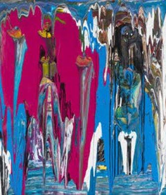 Julien Friedler, Totems, 2014. Acrilico su tela, 110x90 cm