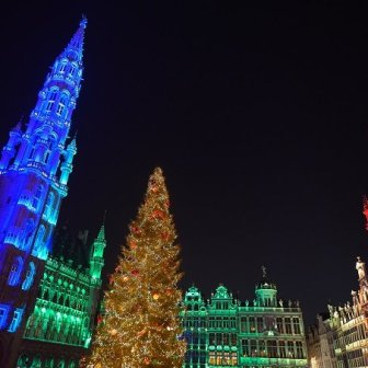 Christmas sound and lights show on the Grand Place as a part of the Winter Wonders and Christmas Market 2016