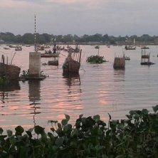 tramonto dal ponte di teak