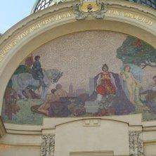 particolare art nouveau palazzo Casa Municipale Praga