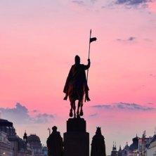 San Venceslao Praga al tramonto