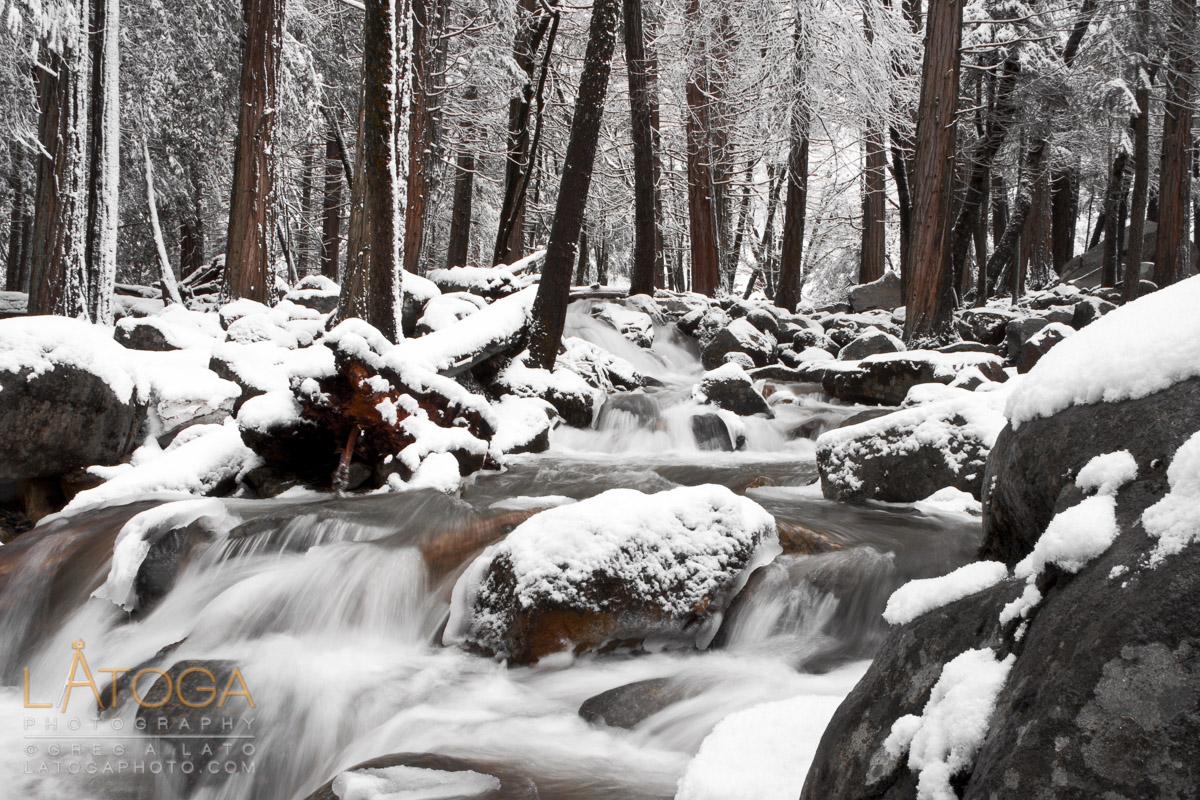 Upstream view of snow covered Bridalveil Creek in Yosemite National Park