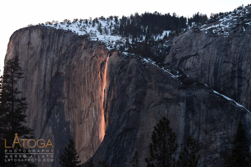 Yosemite's El Capitan and Horsetail Falls catching the last light of sunset to create the back lit Fire Fall that only happens in February.