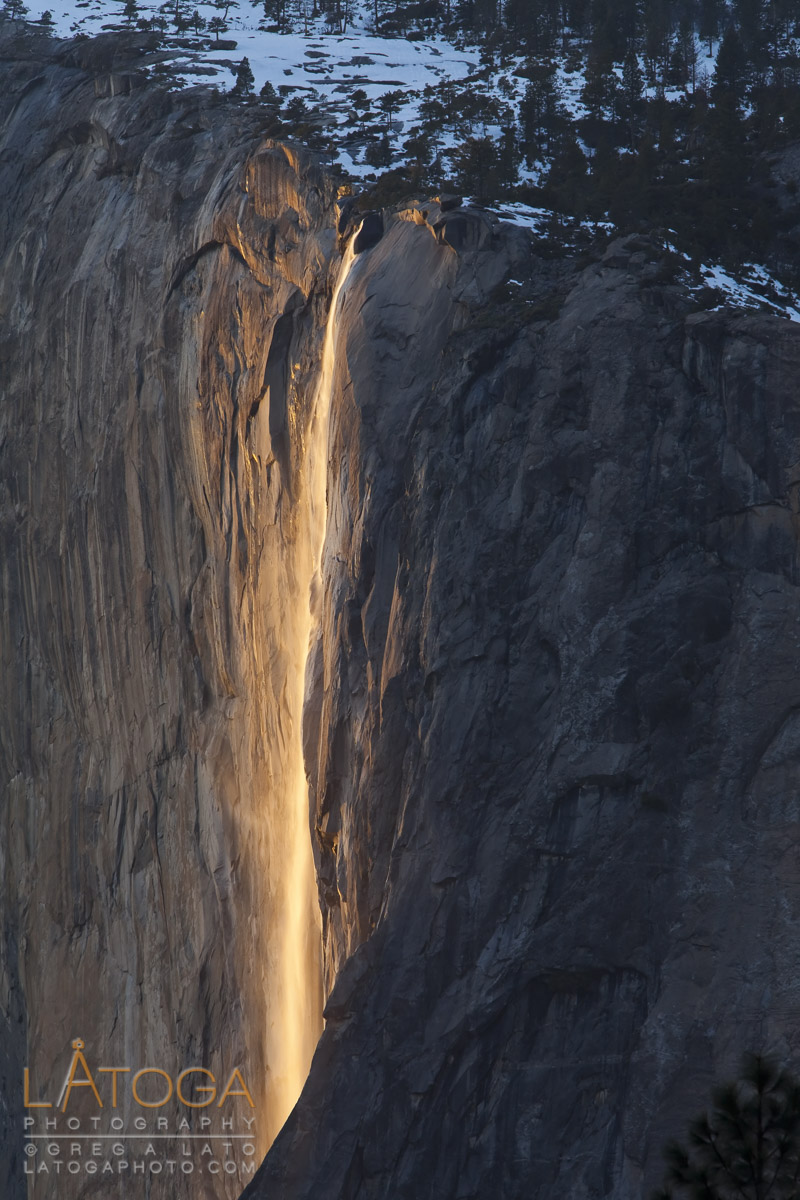 Yosemite's Horsetail Falls catching the last light of sunset to create the back lit Fire Fall that only happens in February.