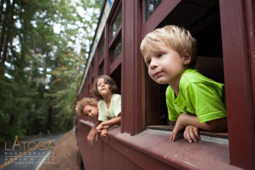 Children Gazing out Train Window on Roaring Camp to Santa Cruz train.