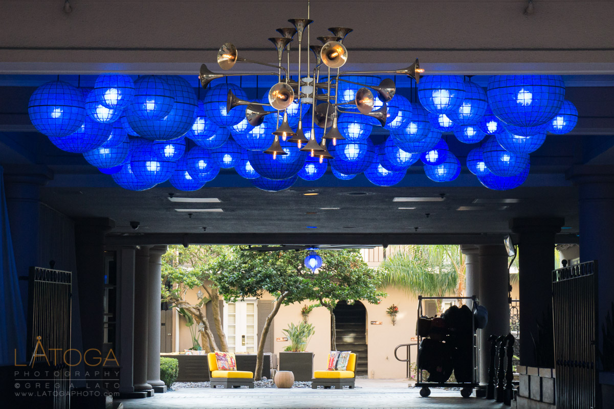 Horns, Blue Spheres, and Yellow Chairs at the Entrance to the W Hotel in New Orleans