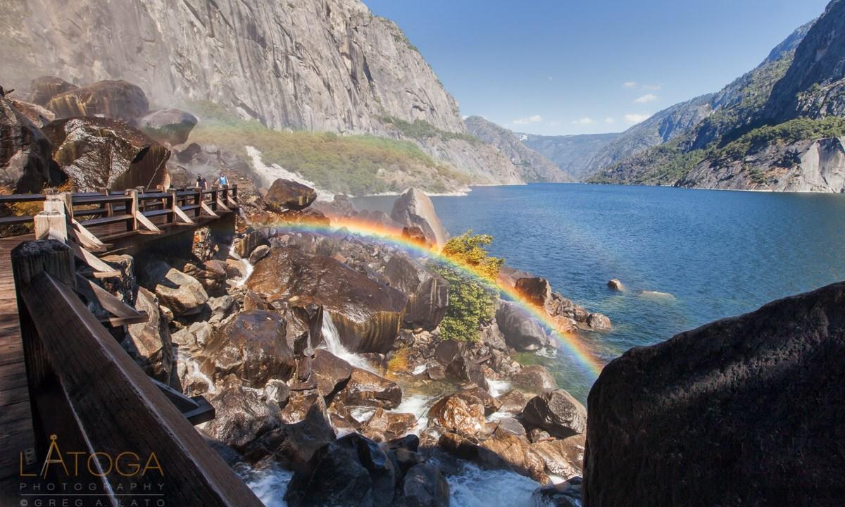Wapama Falls Rainbow and Hetch Hetchy Reservoir
