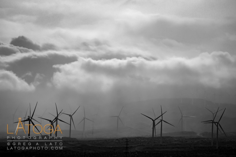 Windmills and rainstorms near Mojave, California.