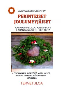 Latokasken Marttojen joulumyyjäiset lauantaina 30.11. klo 10-12 Kaskikappelilla! <span class=