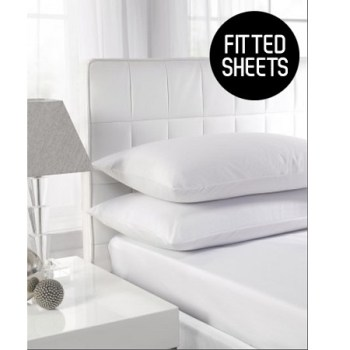 180 TC Extra Deep Percale King Size Fitted Sheets (Up To 16'')