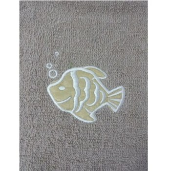 Fish Embroidered Beige Bath Sheets – Value Range