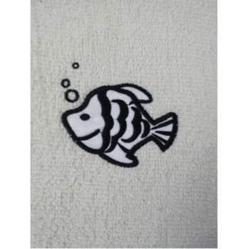Fish Embroidered White Bath Towels – Value Range