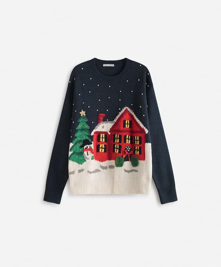 loungewear para unas navidades con jersey de navidad de oysho