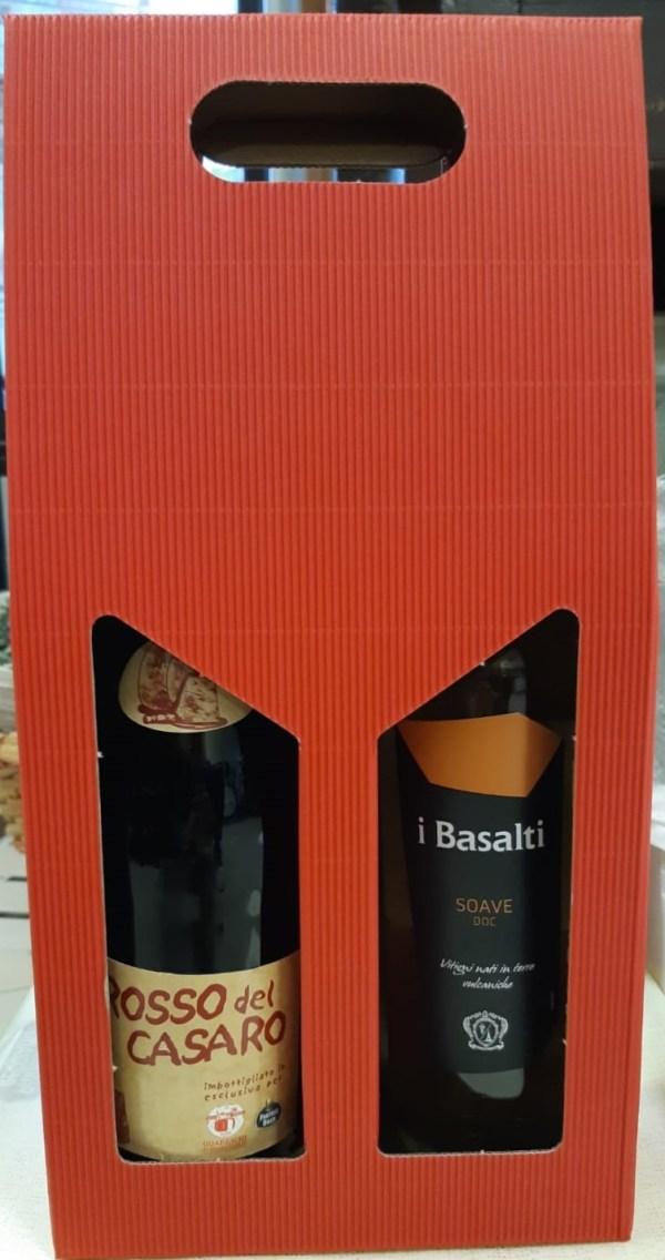 Confezione regalo due bottiglie di vino Lambrusco e Soave