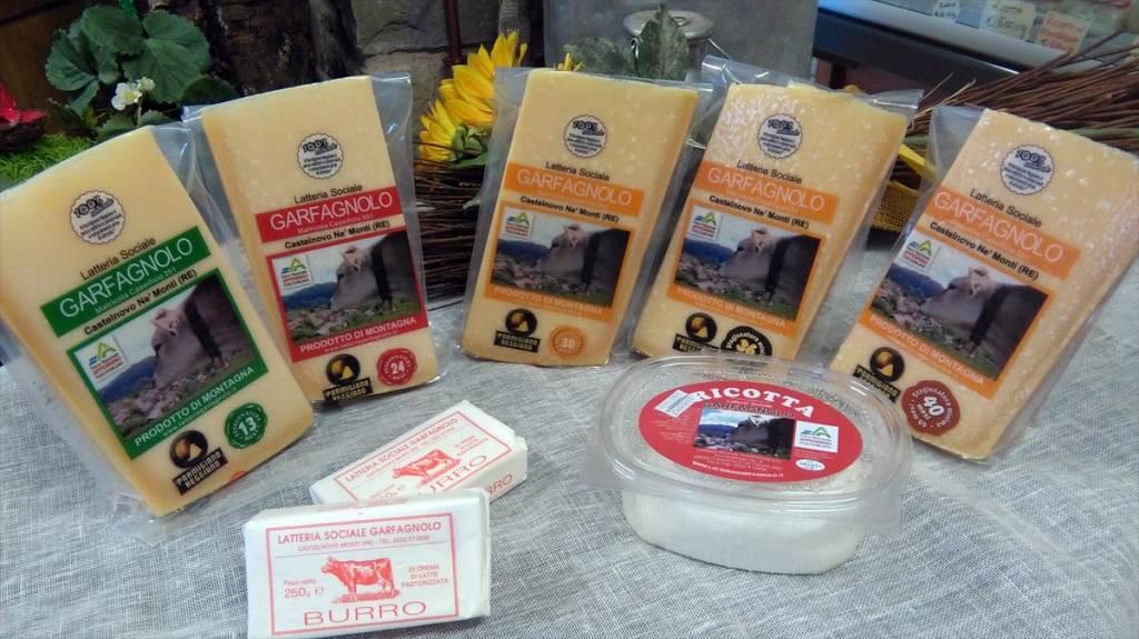 Parmigiano Reggiano di Montagna varie stagionature, ricotta e burro, Latteria Sociale Garfagnolo
