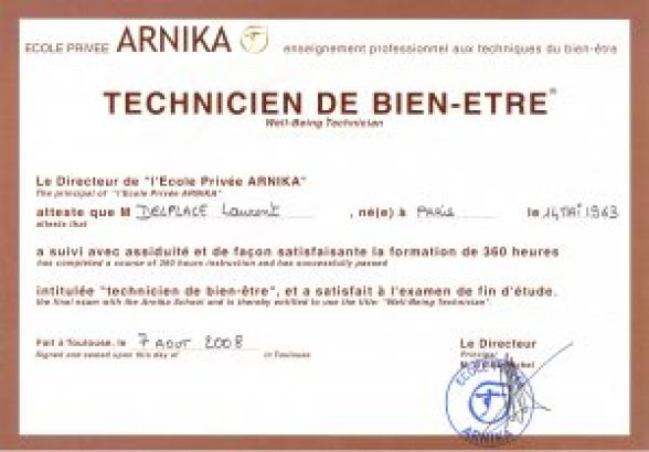 diplôme obtenu suite à la formation de technicien de bien-être