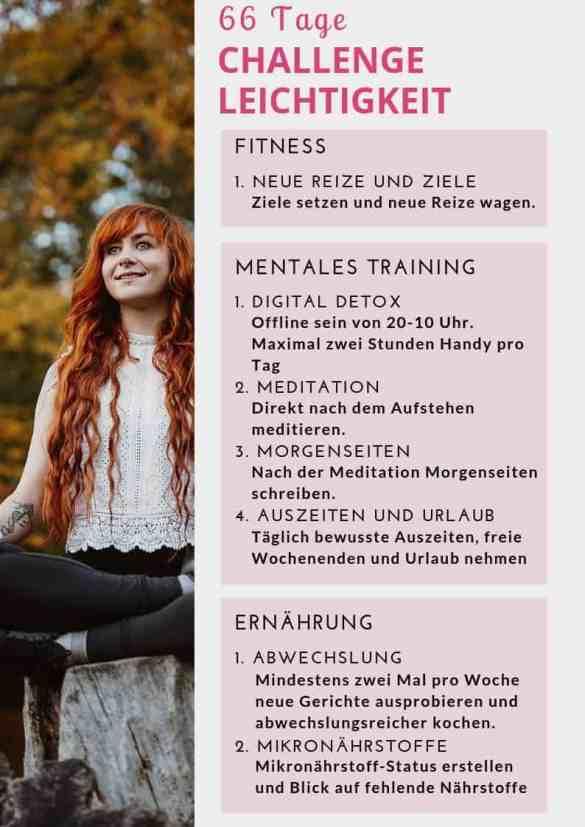 Schluss mit schlechten Gewohnheiten und Negativität - in dieser 66 Tage Challenge stellen wir uns gemeinsam verschiedenen Aufgaben aus den Bereichen Fitness, Ernährung und Mindset, um langfristige gesunde Veränderungen für mehr Leichtigkeit zu etablieren. Bist du dabei?