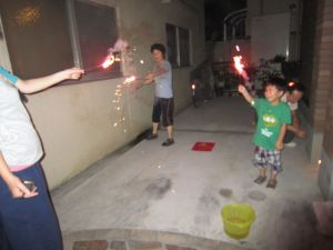 自宅で花火