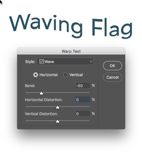 Warp Text Wave Applied Photoshop
