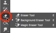 2- Background Eraser Hidden Under Eraser Tool