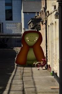 Hooded Monster On Dublin Street by Jennifer Farley