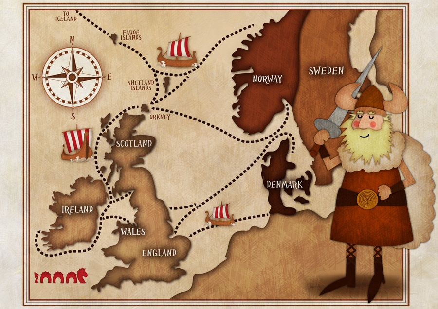 Map of Viking Invasion of Britain & Ireland