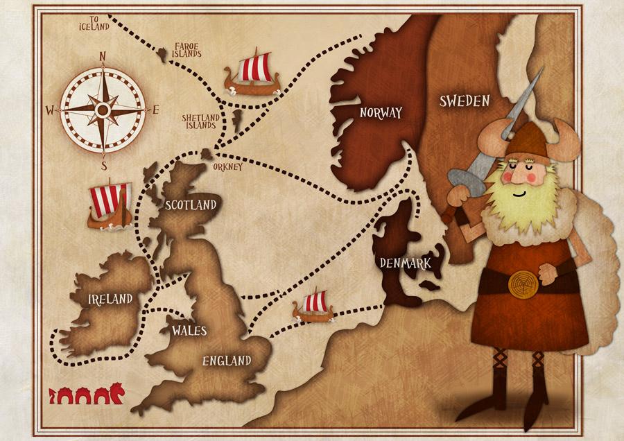 Viking illustration by Jennifer Farley