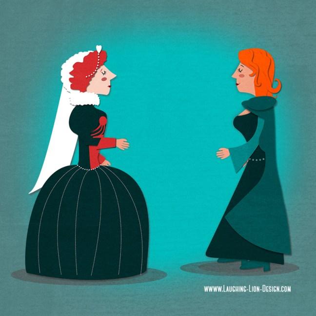Queen Elizabeth meets Grace O'Malley illustrated by Jennifer Farley