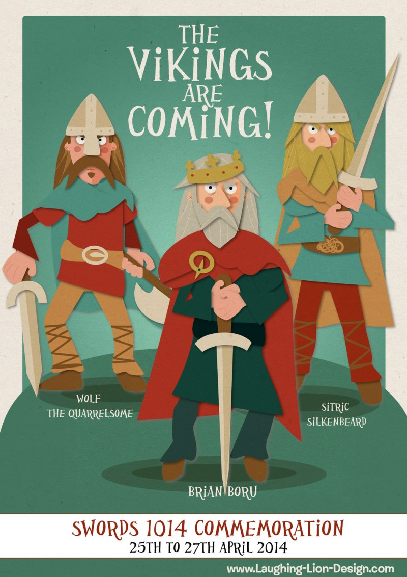 Vikings Are Coming Poster - illustrated by Jennifer Farley