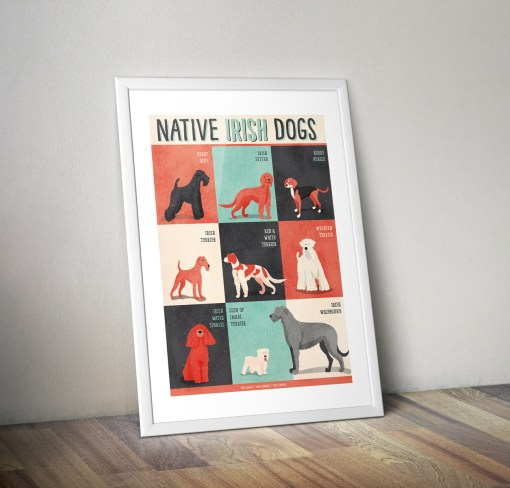 Dogs-Of-Ireland-Print-Jennifer-Farley-Frame-Against-Wall