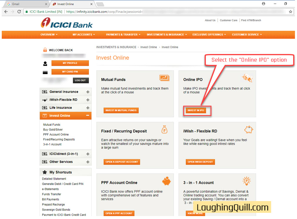 How to apply for IPO via ICICI Bank NetBanking (ASBA)-03