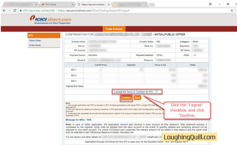 How to apply for IPO via ICICI Bank NetBanking (ASBA)-10