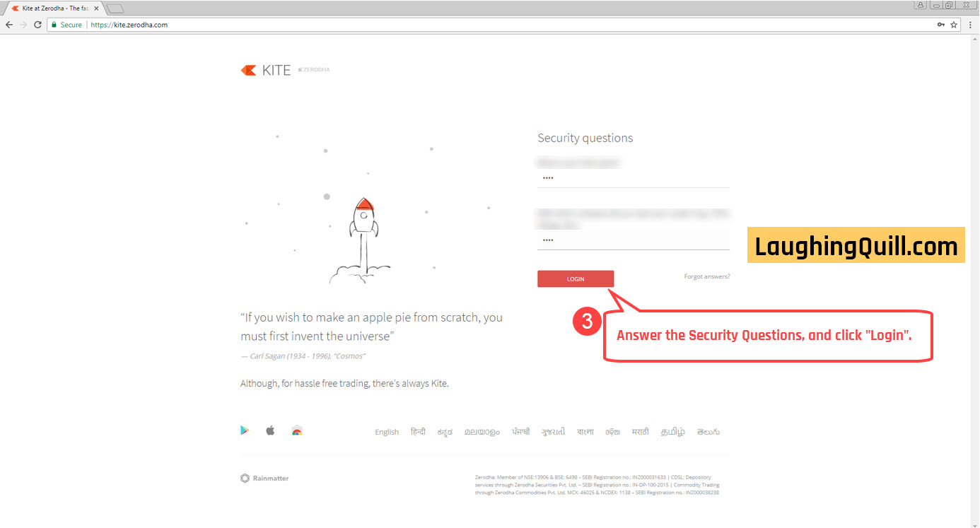 "3) Answer the security questions and click ""Login""."