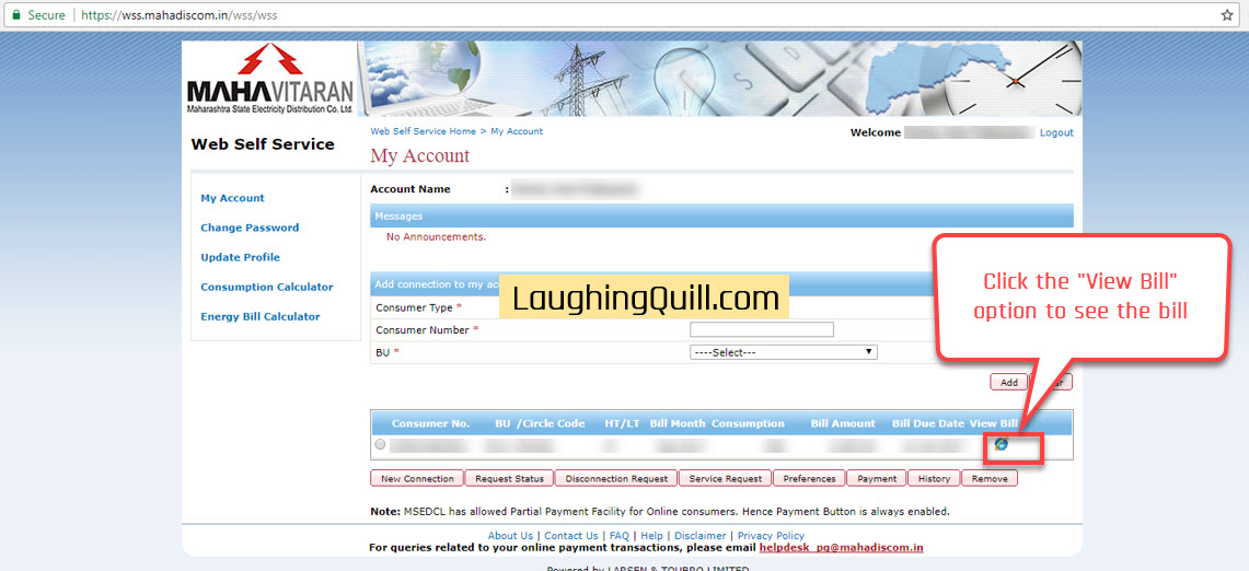 """Pay MSEB Electricity Bills Online- Step 04. Click the """"View Bill"""" option to see the pending bill to be paid."""
