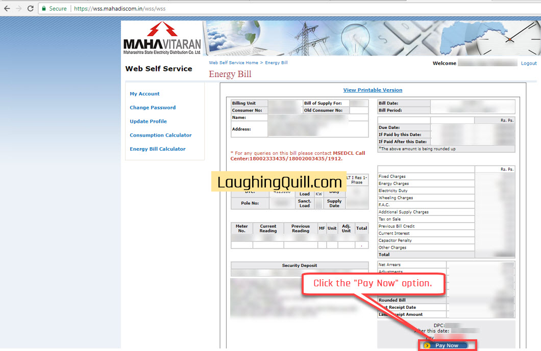 """Pay MSEB Electricity Bills Online- Step 05. Click the """"Pay Now"""" option."""