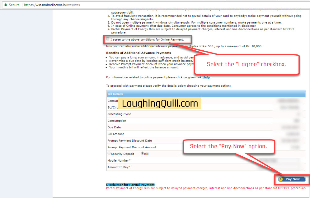 "Pay MSEB Electricity Bills Online- Step 06. Select the ""I agree"" checkbox. Next click the ""Pay Now"" button."