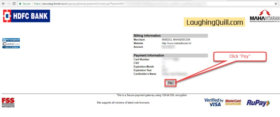 "Pay MSEB Electricity Bills Online- Step 11. Click the ""Pay"" button."