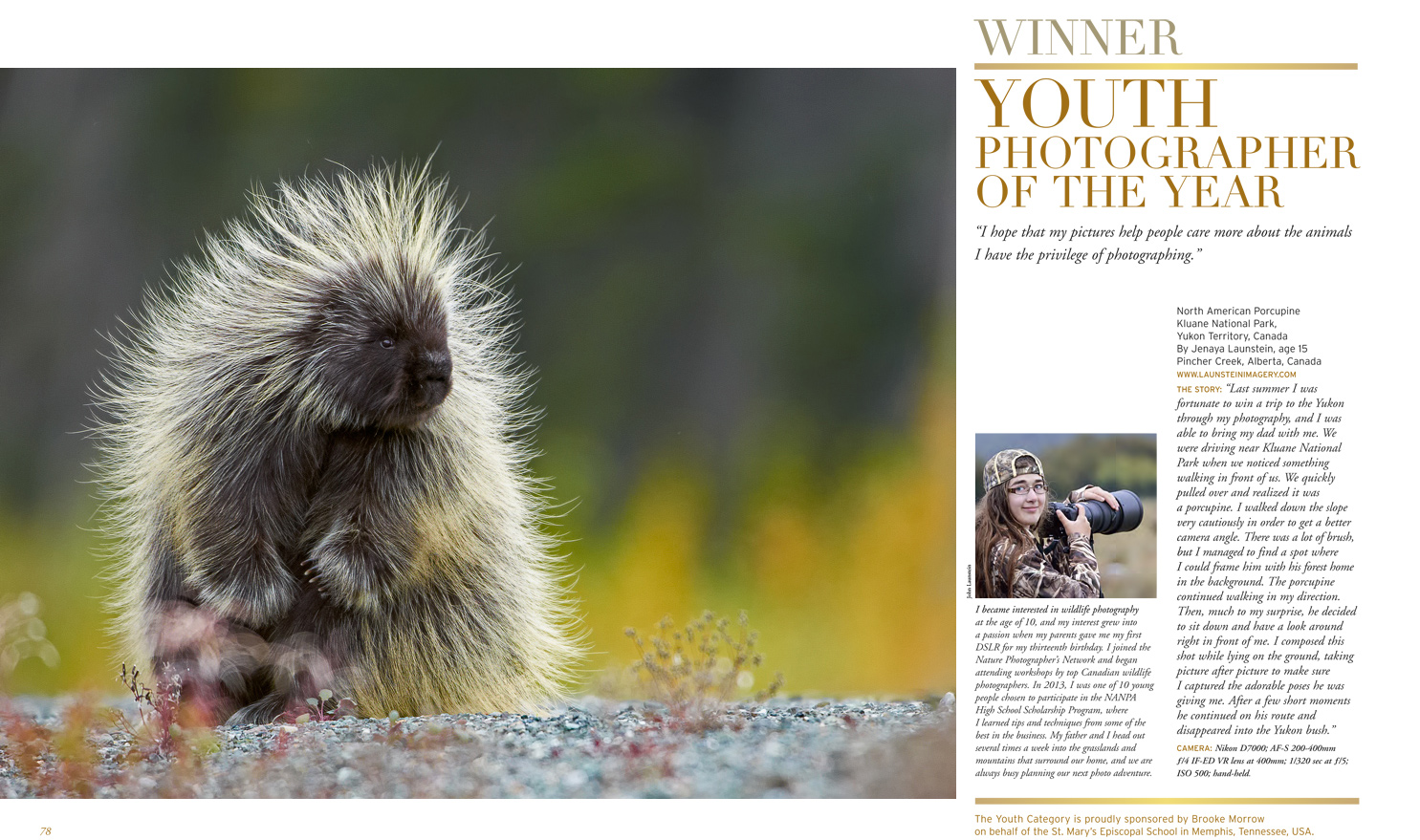 Jenaya Launstein introduced as Youth Photographer of the Year in Nature's Best Magazine
