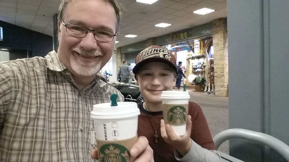 A little caffeine to start the day after attempting sleep on the airport floor.