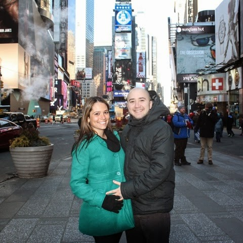 Little bump holding in Times Square, haha!
