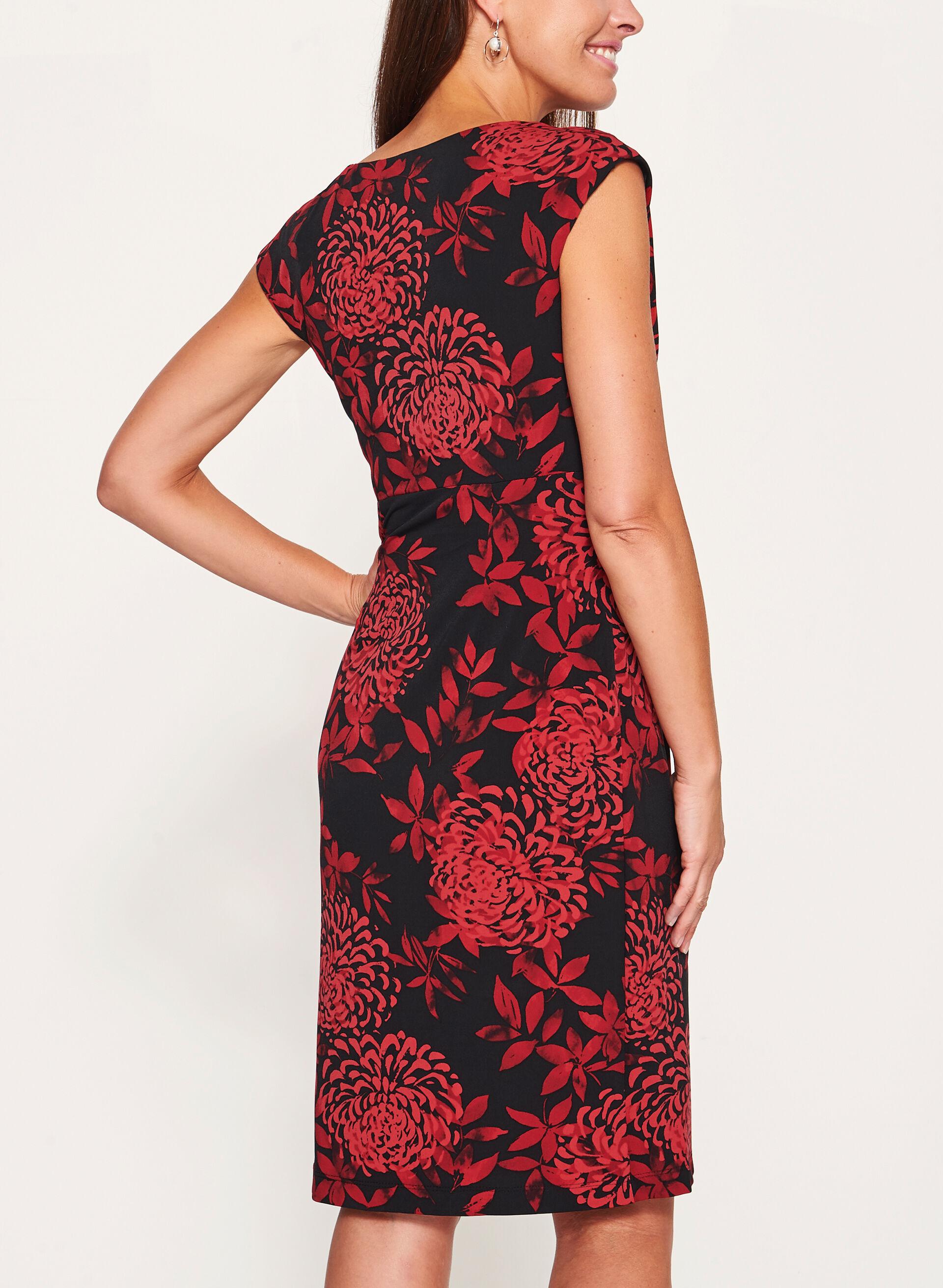 Floral Print Faux Wrap Dress   Laura