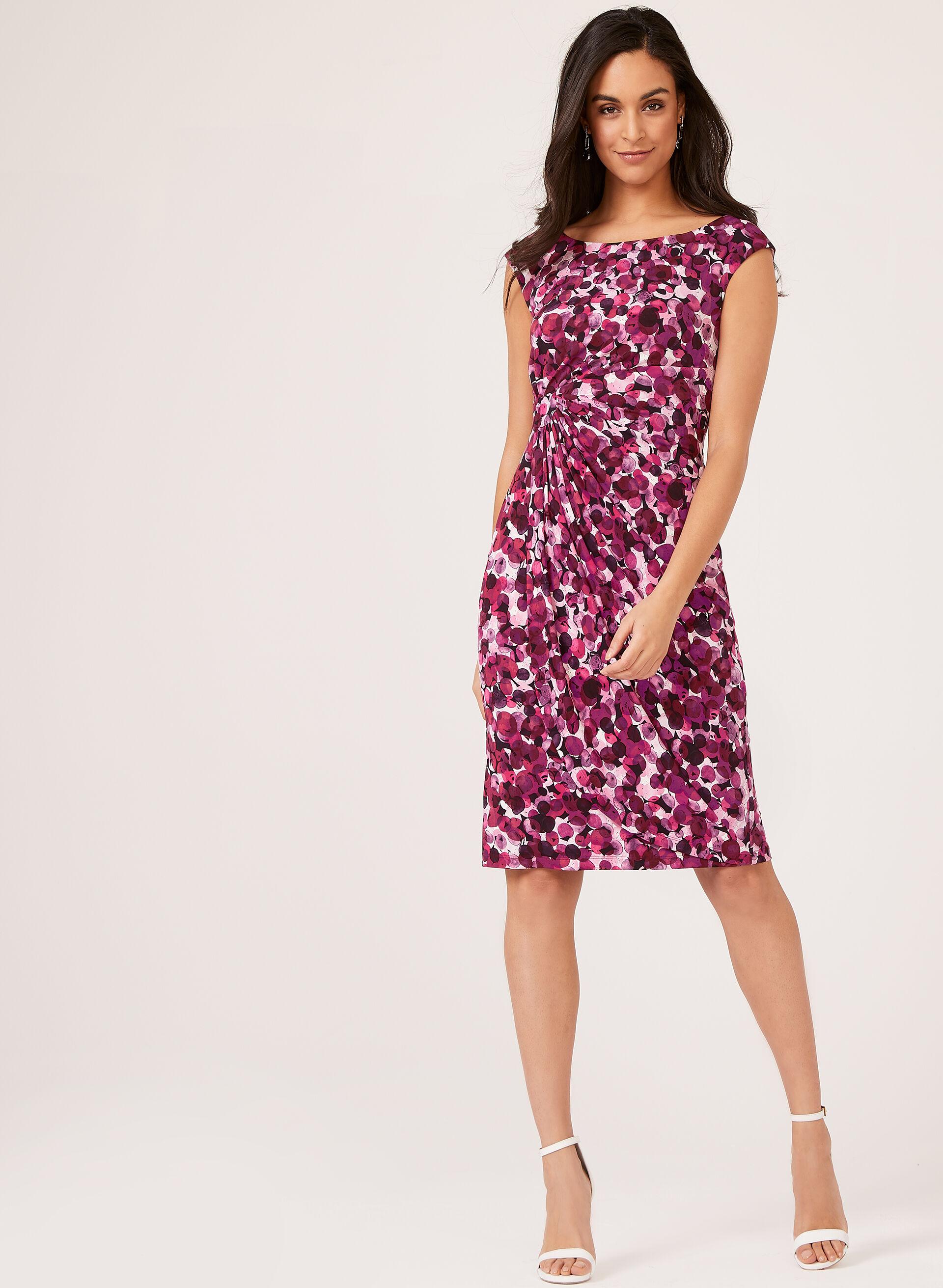 Bubble Print Faux Wrap Dress   Laura