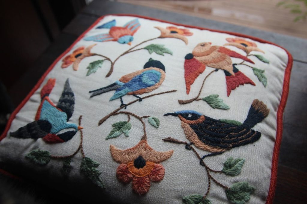 Birds and yarn. Two of my favorite things. Crewel is wool embroidery yarn.