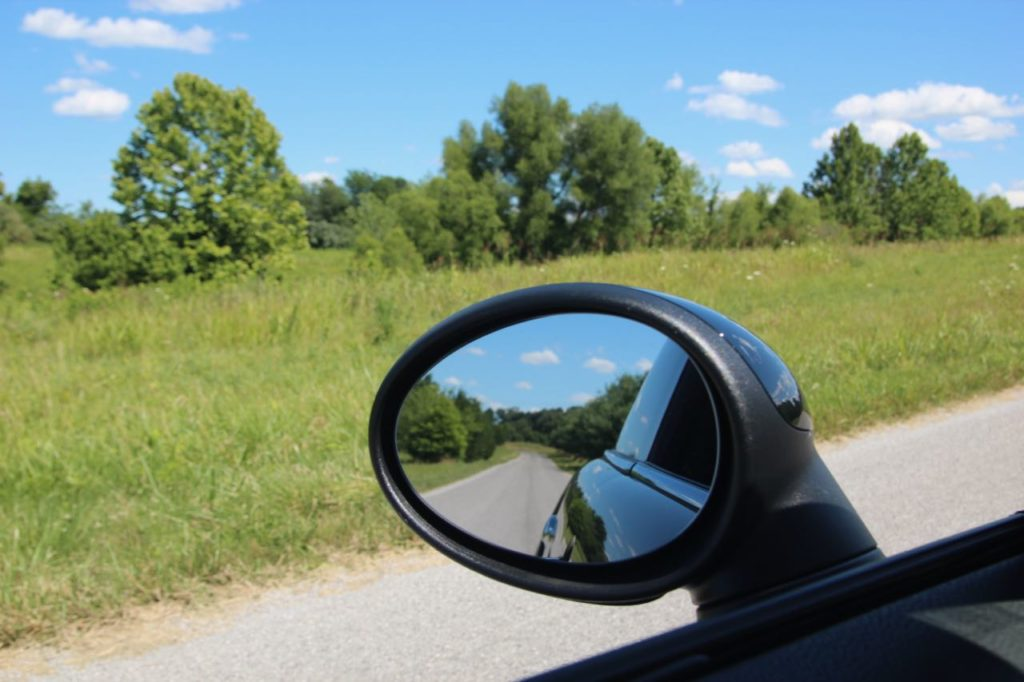 Blue skies on a Southern Illinois backroad-photo by Laura Benedict