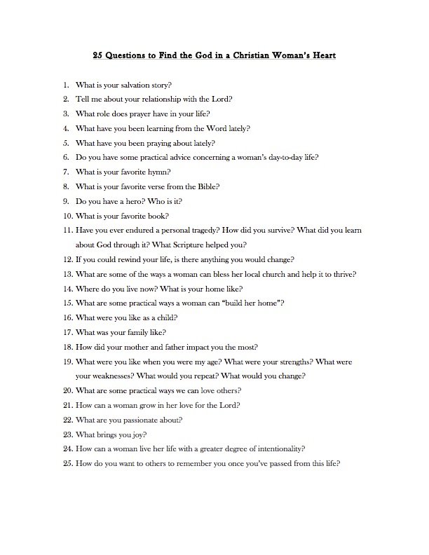graphic about Free Printable Bible Study Lessons With Questions and Answers identify 25 Queries toward Locate the Gold within just a Christian Womans Middle