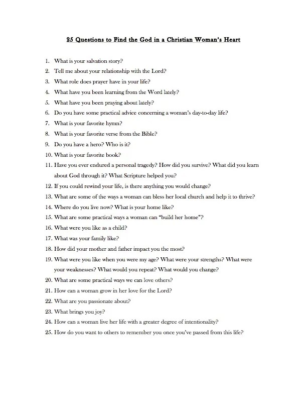 25 Questions to Find the Gold in a Christian Woman's Heart