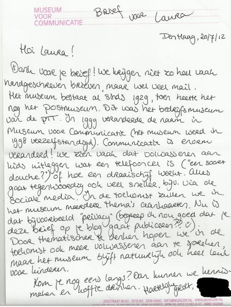 sollicitatiebrief museum Laura denkt | museum voor communicatie sollicitatiebrief museum