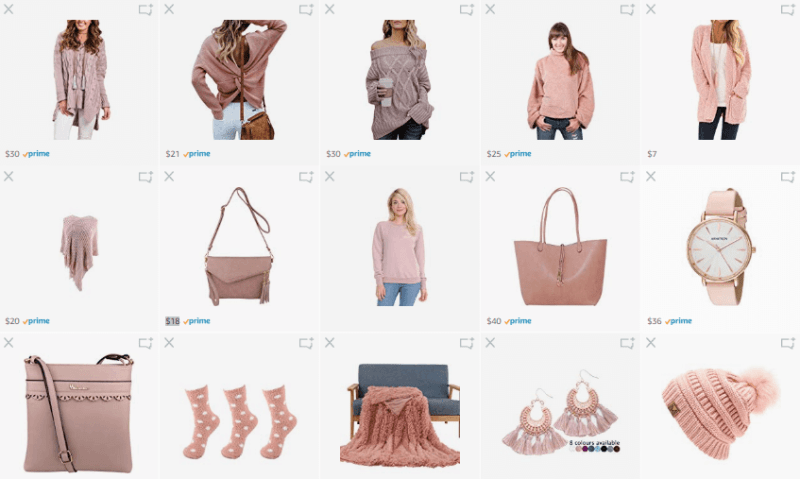 What We Want Wednesday Blush Pink Amazon List Screenshot