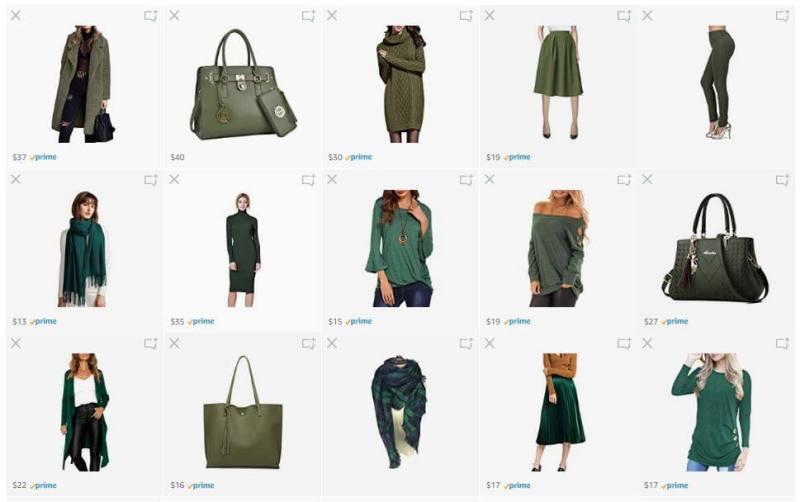 What We Want Wednesday Envious Green Wardrobe Amazon List Screenshot