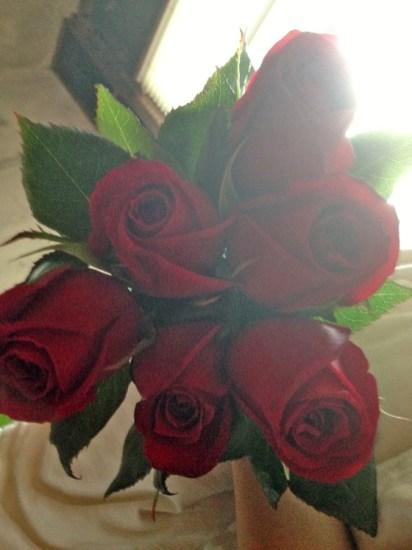 Así amanecí .... con estas rosas